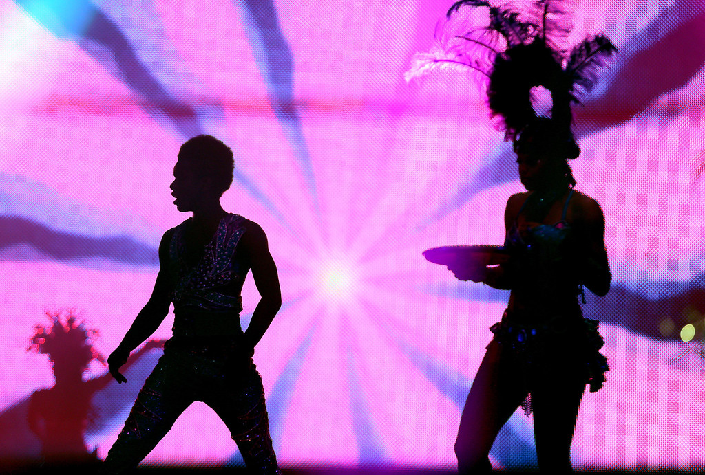 . Dancers do their routine during the Caribbean segment as the UniverSoul Circus performs under the big top on Hegenberger Road in Oakland, Calif., on Friday, April 5, 2013.  (Jane Tyska/Staff)