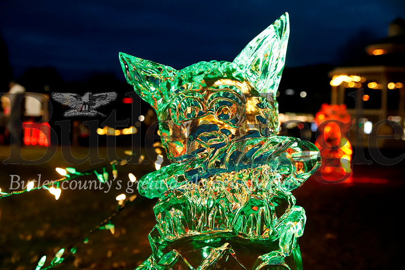 Ice sculpture of a dog eating a candy cane. Seb Foltz/Butler Eagle