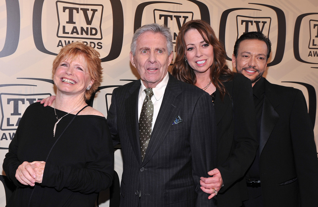 . NEW YORK, NY - APRIL 14:   (L-R) Bonnie Franklin, Pat Harrington Jr, Mackenzie Phillips and Glenn Scarpelli  arrive at the TV Land Awards 10th Anniversary show at the Lexington Avenue Armory on April 14, 2012 in New York City. The 2012 TV Land Awards airs on TV Land Sunday, April 29 at 9PM/8C. (Photo by Leon/PictureGroup) via AP IMAGES