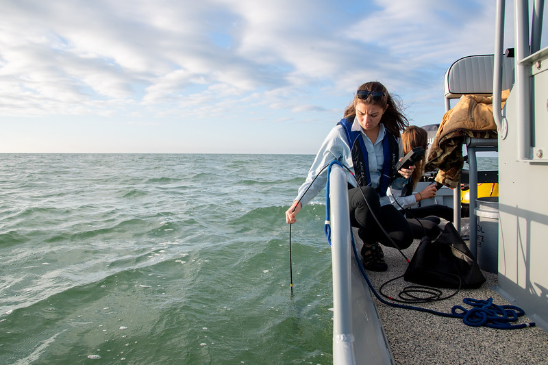 Tiffany Chin gathers preliminary information about the water in Corpus Christi Bay.