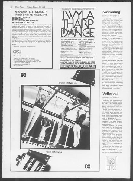 Daily Trojan, Vol. 92, No. 38, October 29, 1982