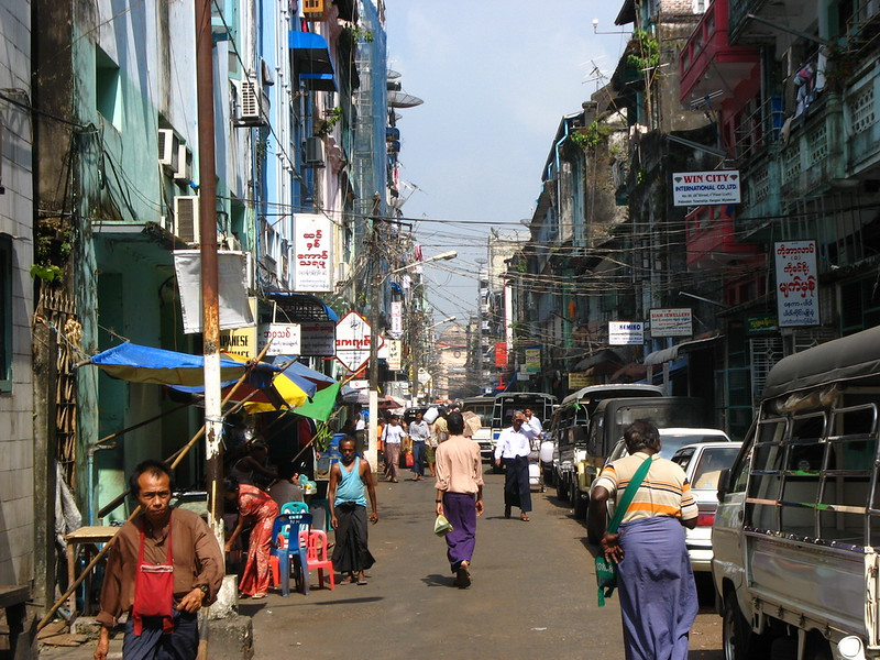 A typical side street in downtown Yangon
