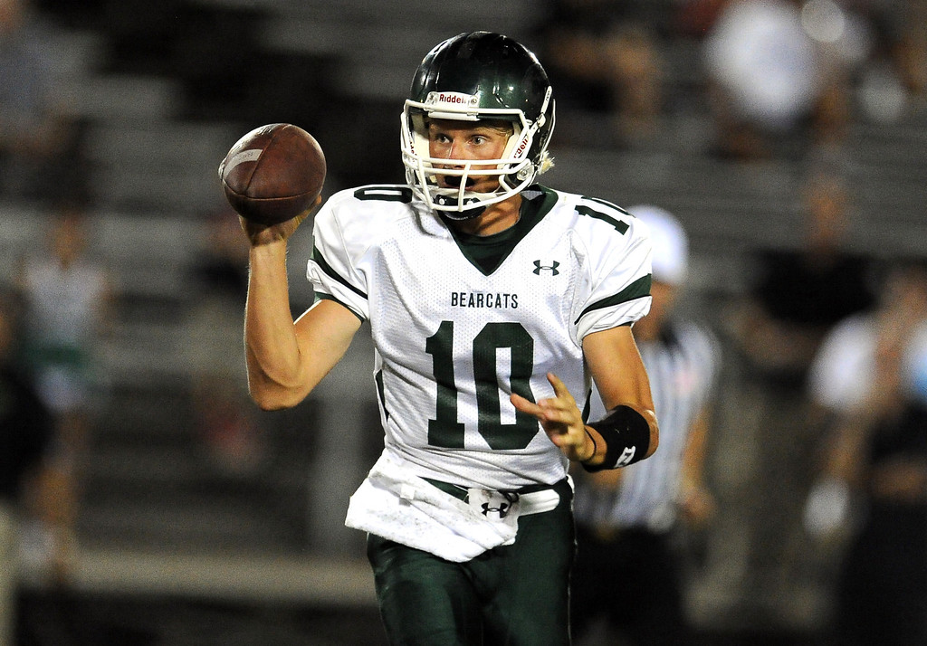 . Bonita quarterback Tanner Diebold scrambles against South Hills in the first half of a prep football game at Covina District Field in Covina, Calif. on Friday, Sept. 6, 2013.   (Photo by Keith Birmingham/Pasadena Star-News)