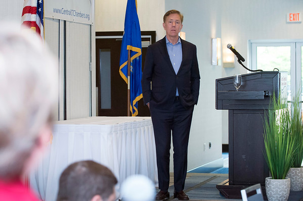 05/13/19 Wesley Bunnell | Staff Governor Ned Lamont spoke with the Central Connecticut Chambers of Commerce on Monday in Bristol. Governor Lamont listens as he is asked a question from the audience.