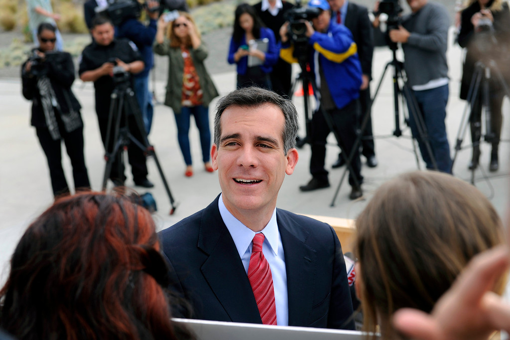 . Mayoral candidate Eric Garcetti thanks supporters at a press conference at Van de Kamp\'s Innovation Campus in Los Angeles, Wednesday, March 6, 2013. (Michael Owen Baker/Staff Photographer)