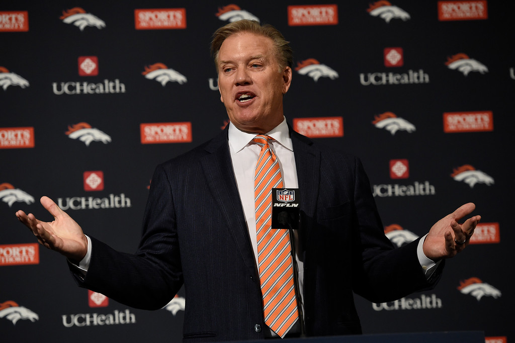 . ENGLEWOOD, CO - MARCH 07:  Executive Vice President of Football Operations and General Manager John Elway talks about Peyton Manning career with the team. The Denver Broncos hold a press conference to announce the retirement of Denver Broncos quarterback Peyton Manning March 7, 2016 at UCHealth Training Center. (Photo By John Leyba/The Denver Post)