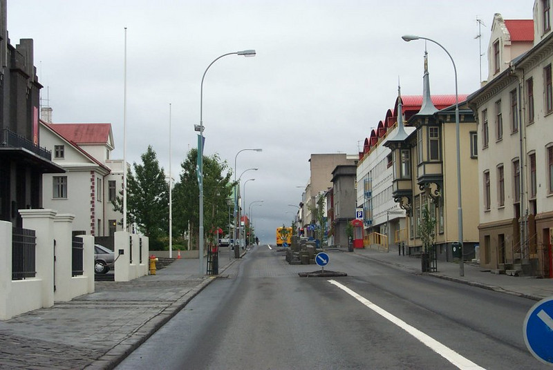 Quiet streets at Downtown Reykjavik in Iceland