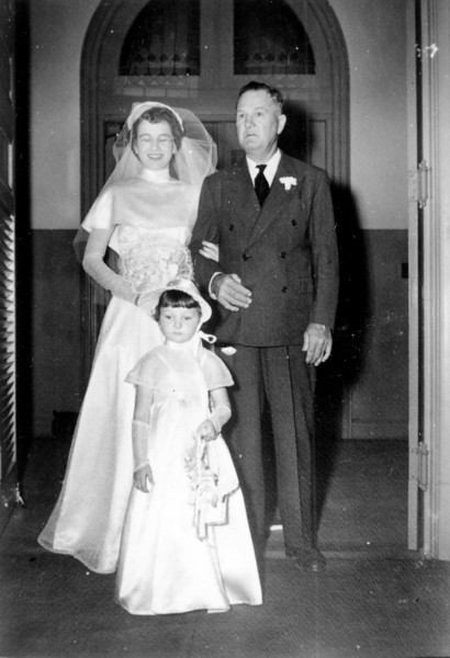 Maria Jacob Smock with her father George Jacob and Sharon Curry Walter 'Rip' Smock and Maria Jacob Wedding September 9, 1950