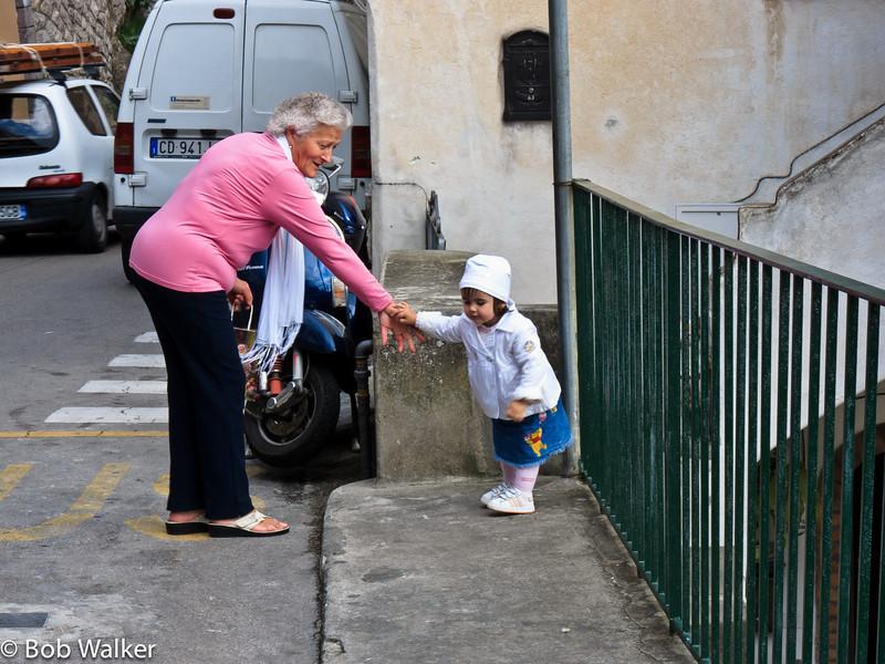 Grandma with her granddaughter in Positano