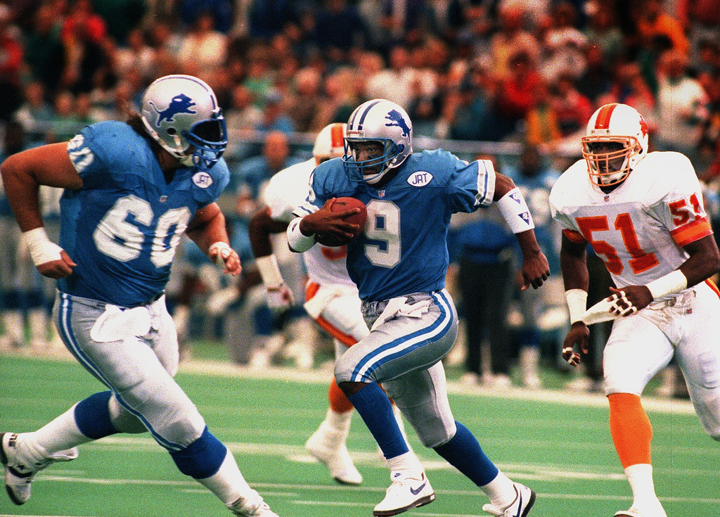 . FILE PHOTO (9-29-91)  Detroit Lions right guard Mike Utley, blocks for quartback Rodney Peete against the Tampa Bay Buccaneers at The Pontiac Silverdome on September 29, 1991.  Utley became paralyzed after being injured in a game against the Los Angelus Rams on November 17th, 1991 at the kSilverdome.