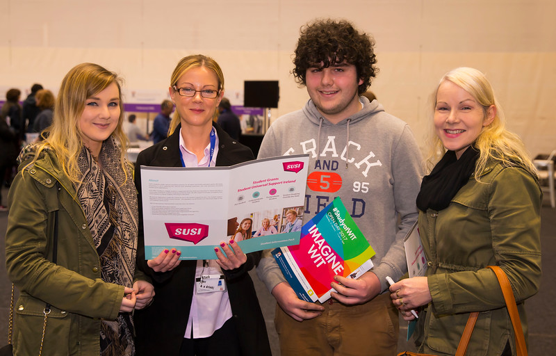 21/01/2017.  Waterford Institute of Technology (WIT) open day at WIT Arena. Pictured are Ciara Jacob, WIT, Grace, John and Florence Cullen from Borris, Co. Carlow.  Picture: Patrick Browne
