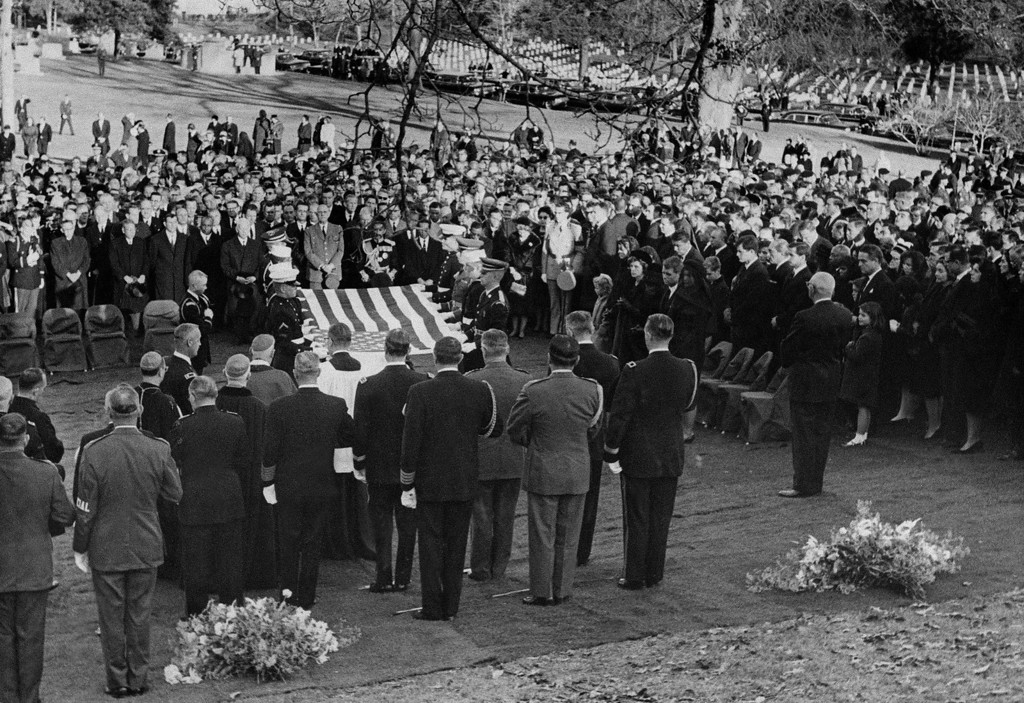 . Family and chiefs of state pay their last respects. AFP/Getty Images