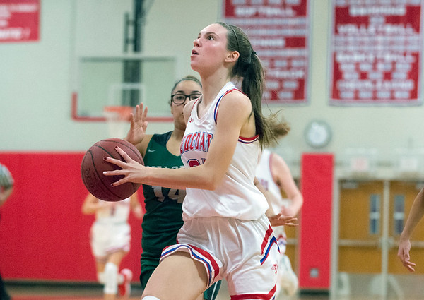 12/20/19 Wesley Bunnell | StaffrrBerlin girls basketball defeated Maloney on Monday night at home 44-20. Jenna Wenzel (24).