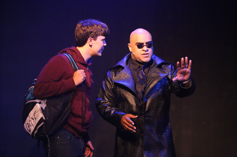 Jeremy (Jayde Mitchell) and The Squip (Dominic Dowdy-Windsor) in BE MORE CHILL singing the title song, New Line Theatre, 2019. Photo credit: Jill Ritter Lindberg.