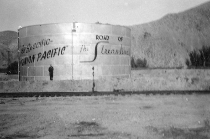 Oil tank at Caliente, Nevada, painted by Doug Brown's father, Art Brown, a carpenter with UP's Bridges & Building department.