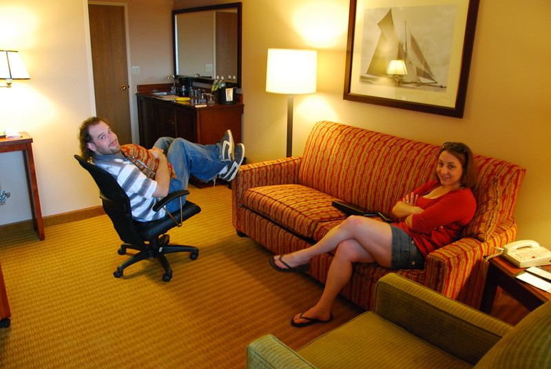 John and Megan enjoying their suite at Embassy Suites.