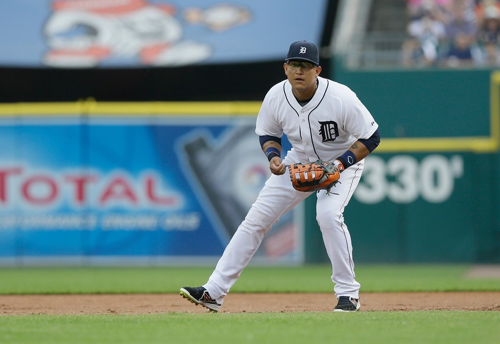 . Detroit Tigers first baseman Miguel Cabrera waits on the play during the first inning of a baseball game against the Chicago Cubs, Tuesday, June 9, 2015, in Detroit. (AP Photo/Carlos Osorio)