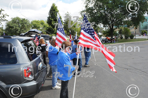 Operation Welcome You Home Flag line on Rotary Hill in Naperville at Veterans Salute 9-5-11