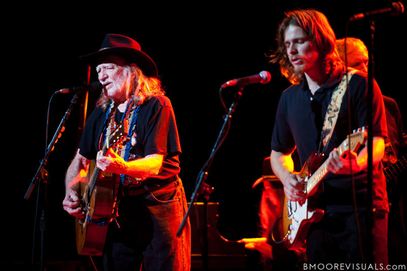 Willie Nelson and his son Lukas Nelson perform on February 17, 2011 at Van Wezel Performing Arts Hall in Sarasota, Florida