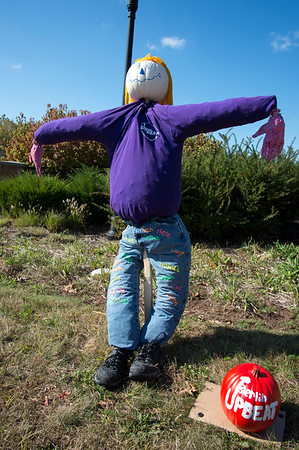 10/14/19 Wesley Bunnell | StaffrrThe Berlin Parks and Recreation Department is hosting the 15th Annual Scarecrow Festival now through the end of the month with scarecrows on display on Farmington Ave. A scarecrow on display by the Berlin High School Upbeat Club.