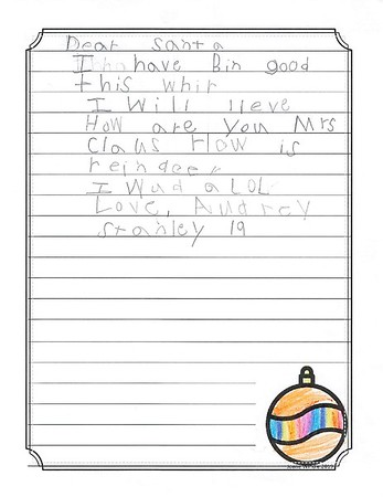 Ms. Perez First Grade Letters to Santa, 12/10/2019