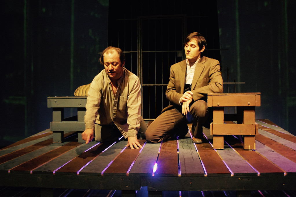 ". Allen Branstein, left, as Bailey and Geoff Knox as Henry perform a scene in the Ensemble Theatre production of �The Night Thoreau Spent in Jail.� The show continues through Dec. 11 at Ensemble Theatre in Cleveland Heights. For more information, visit <a href=""http://www.ensembletheatrecle.org/\"">ensembletheatrecle.org</a>. (Celeste Cosentino)"