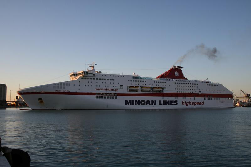 CRUISE OLYMPIA maneuvering in Ancona, arrival from Patra - Igoumenitsa.