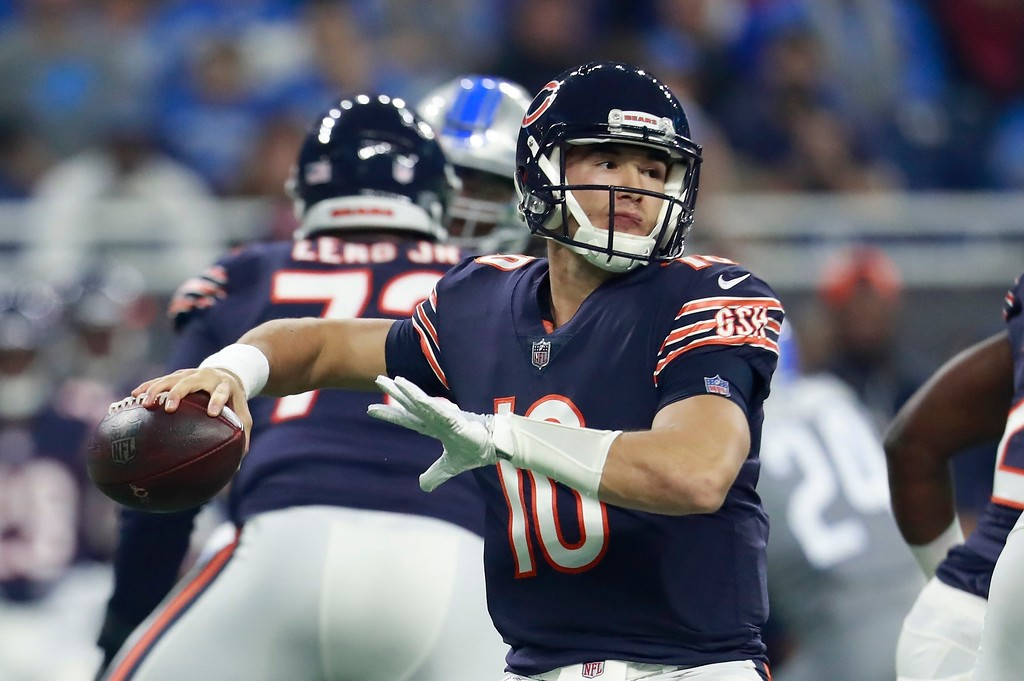 . Chicago Bears quarterback Mitchell Trubisky throws during the first half of an NFL football game against the Detroit Lions, Saturday, Dec. 16, 2017, in Detroit. (AP Photo/Rey Del Rio)