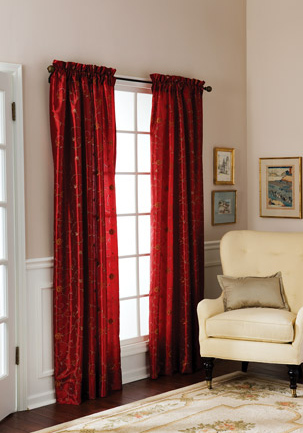 Amazon.com: Floral Embroidered Faux Silk Curtain Panel 63 - 95