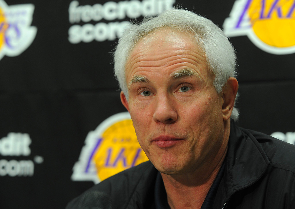 . EL SEGUNDO - 02/19/13 - (Photo: Scott Varley, Los Angeles Newspaper Group)  At the Lakers practice facility in El Segundo, Lakers players and staff reflect on the passing of long-time owner Dr. Jerry Buss. Lakers General Manager Mitch Kupchak talks about the decades of working for Buss.