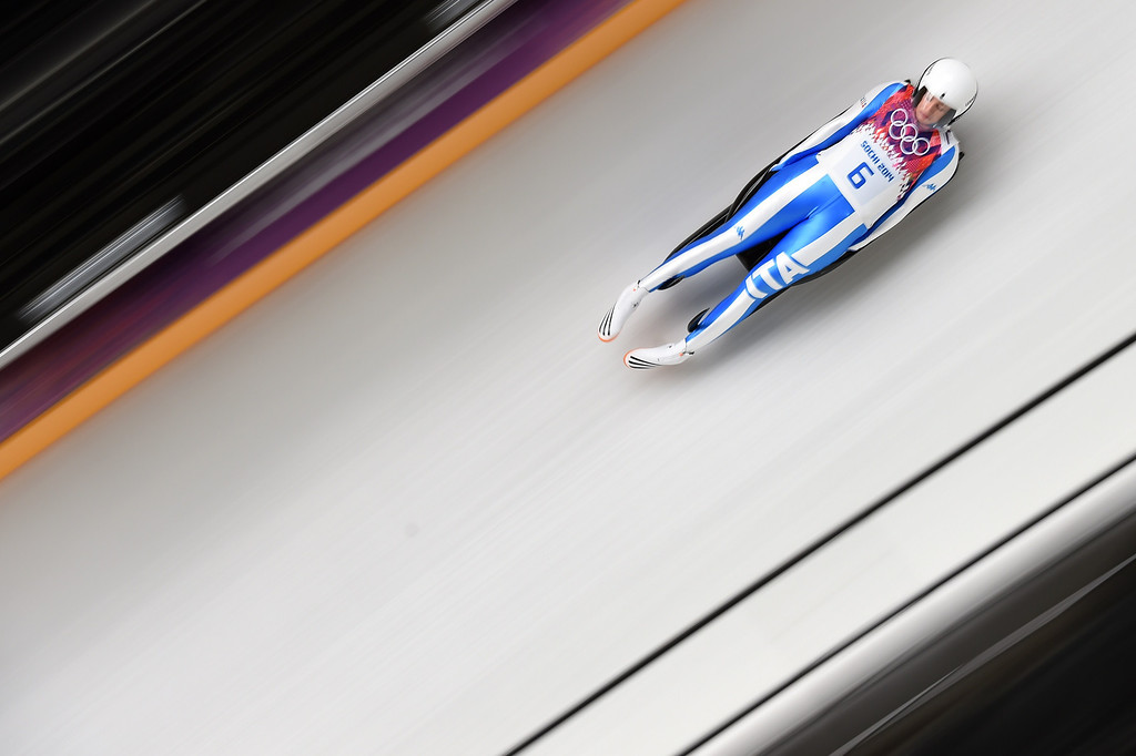 . Italy\'s Sandra Gasparini competes during the Women\'s Luge Singles run two at the Sliding Center Sanki during the Sochi Winter Olympics on February 10, 2014. AFP PHOTO / LEON NEAL/AFP/Getty Images
