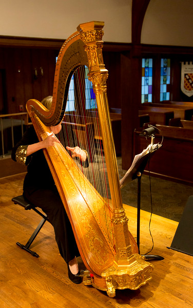 Paula Page playing harp