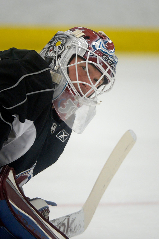 . Colorado Avalanche G J.S. Giguere (35) looks to the side  during practice September 9, 2013 at Family Sports Ice Arena. (Photo By John Leyba/The Denver Post)
