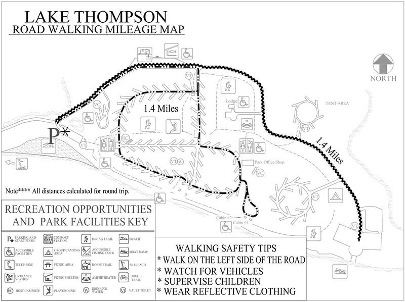 Lake Thompson Recreation Area (Road Walking Map)