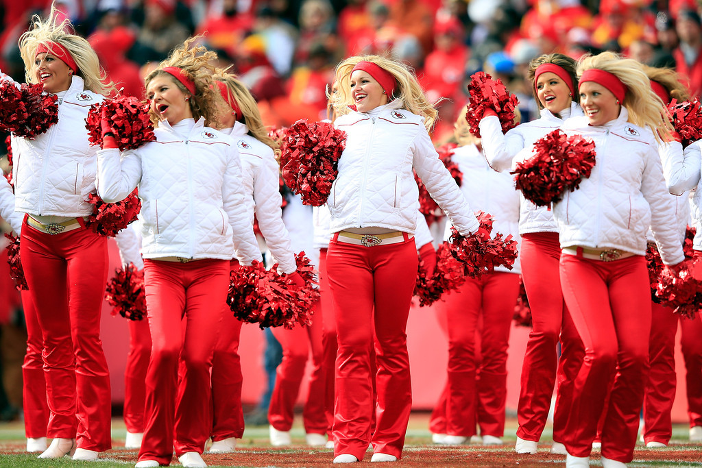 . Kansas City Chiefs cheerleaders perform during the game against the San Diego Chargers at Arrowhead Stadium on November 24, 2013 in Kansas City, Missouri.  (Photo by Jamie Squire/Getty Images)