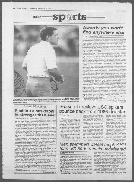 Daily Trojan, Vol. 105, No. 61, December 02, 1987