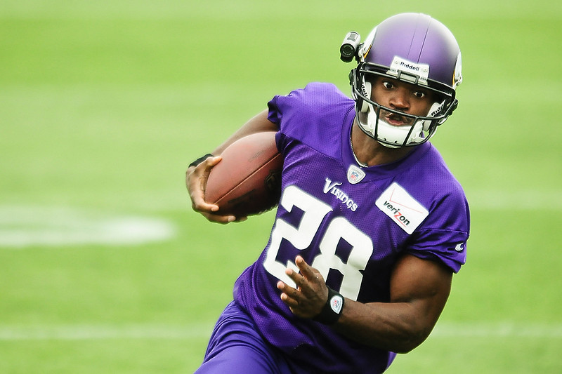 . Minnesota Vikings running back Adrian Peterson runs the ball on the first day of training camp in Mankato, Minn., on Friday, July 26, 2013. (Pioneer Press: Ben Garvin)