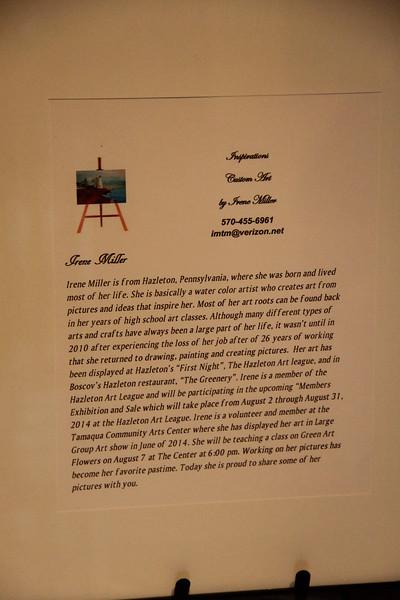 Art Show, Gallery, Irene Miller, Community Arts Center, Tamaqua (7-24-2014)