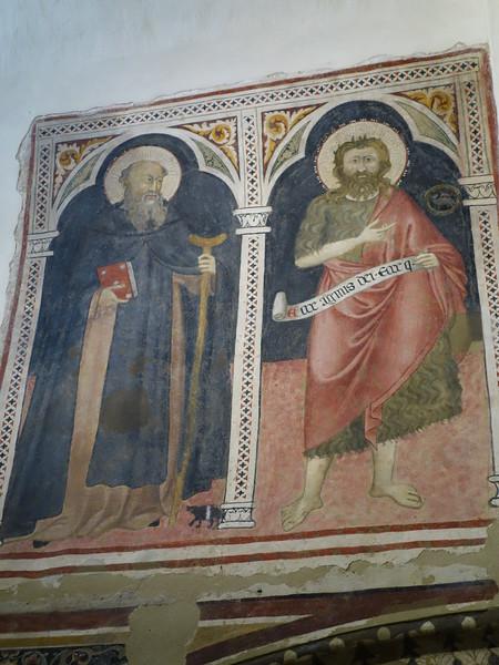 Church of San Giovenale - Interior frescoes (St. Blaise and St. John the Baptist)