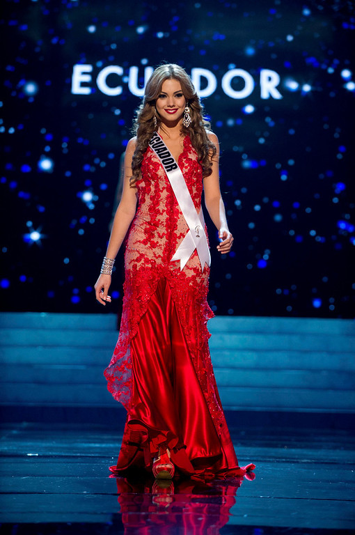 . Miss Ecuador 2012 Carolina Andrea Aguirre Perez competes in an evening gown of her choice during the Evening Gown Competition of the 2012 Miss Universe Presentation Show in Las Vegas, Nevada, December 13, 2012. The Miss Universe 2012 pageant will be held on December 19 at the Planet Hollywood Resort and Casino in Las Vegas. REUTERS/Darren Decker/Miss Universe Organization L.P/Handout