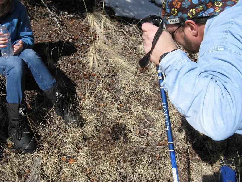 Hunter Randy confirms: it's elk poop at Sam's feet.