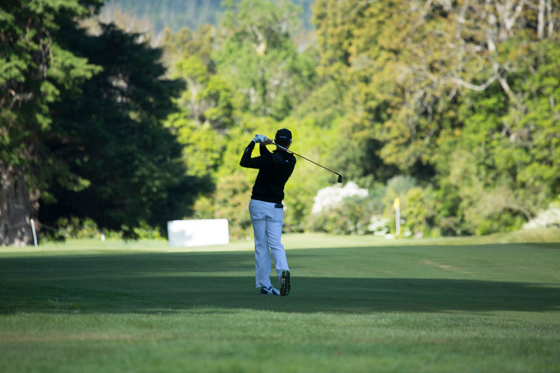 Daniel Hillier from New Zealand hitting into the 13th green on the 2nd day of competition  in the Asia-Pacific Amateur Championship tournament 2017 held at Royal Wellington Golf Club, in Heretaunga, Upper Hutt, New Zealand from 26 - 29 October 2017. Copyright John Mathews 2017.   www.megasportmedia.co.nz