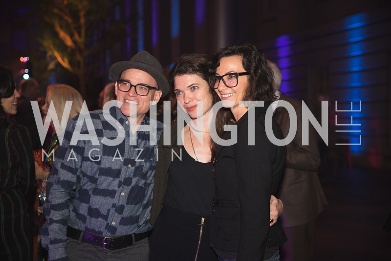 "Tim Doud, Caitlin Teal Price, Linn Meyers. Photo by Bruce Allen. National Portrait Gallery ""Face Forward"" Artist Party."