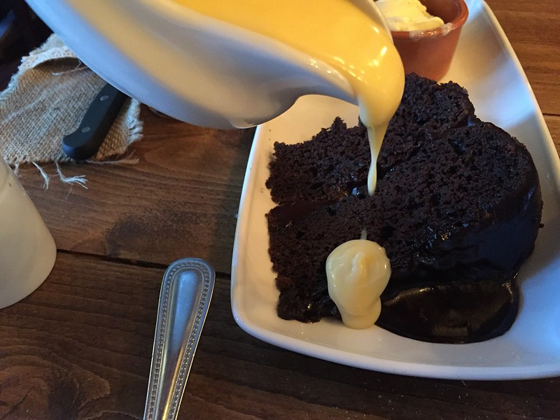 Custard and chocolate cake....it don't get no better than this.