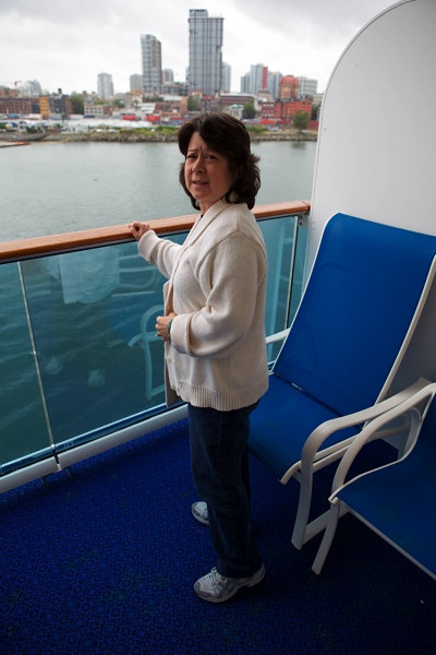 Joanna standing on our balcony prior to leaving.