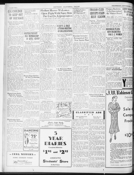 Daily Trojan, Vol. 23, No. 14, September 30, 1931