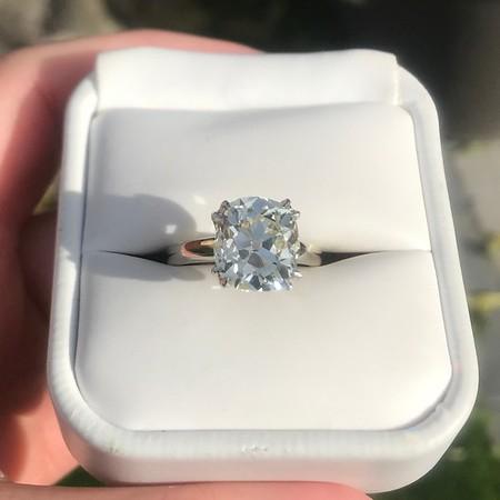 4.90ct Antique Cushion Cut Diamond Ring GIA OP, VS