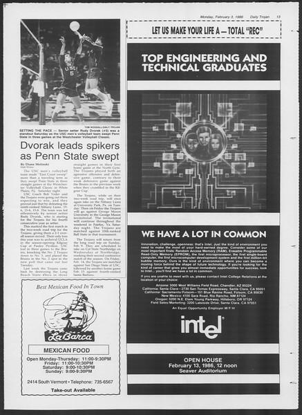 Daily Trojan, Vol. 100, No. 17, February 03, 1986