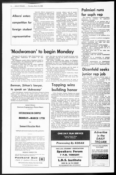 Daily Trojan, Vol. 60, No. 89, March 13, 1969