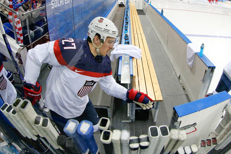 . USA defenseman Ryan McDonagh steps on to the ice to begin the men\'s quarterfinal hockey game against the Czech Republic in Shayba Arena at the 2014 Winter Olympics, Wednesday, Feb. 19, 2014, in Sochi, Russia. (AP Photo/Petr David Josek)